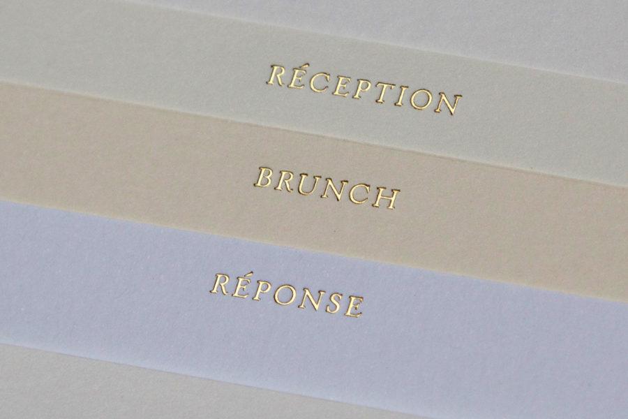 Faire-part de mariage et onglets gravés en Or sur papiers d'édition imprimé par Intaglio
