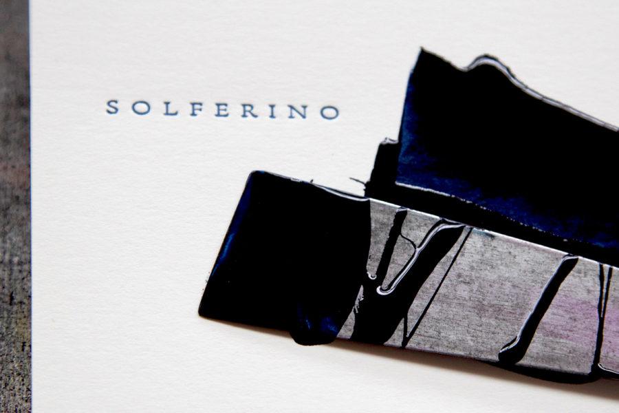 Logo imprimé en typographie letterpress bleu sur papier coton blanc pour Solférino Avocats par imprimerie Intaglio paris