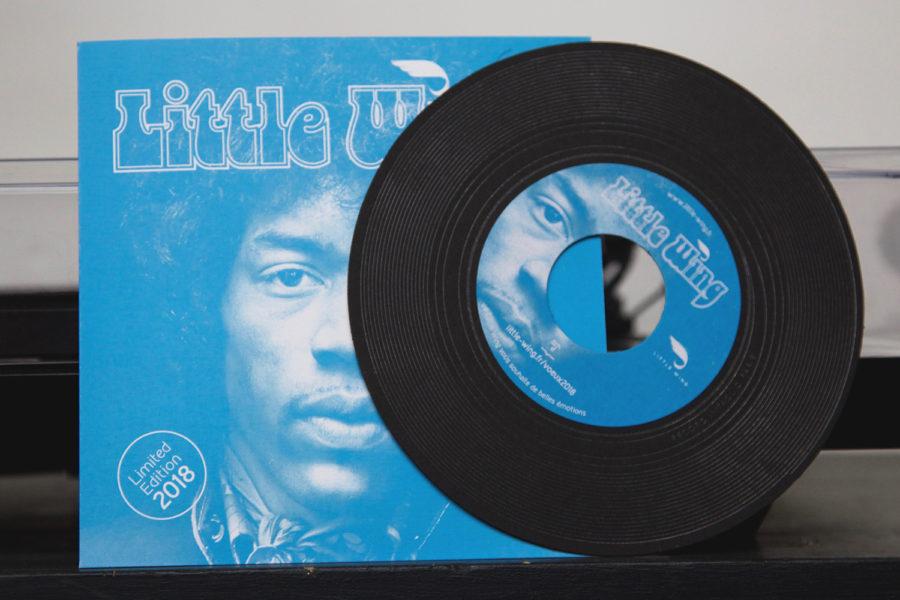 Cette photo représente une carte de voeux 2018 stylisant un vinyl de jimy Hendrix disque et pochette