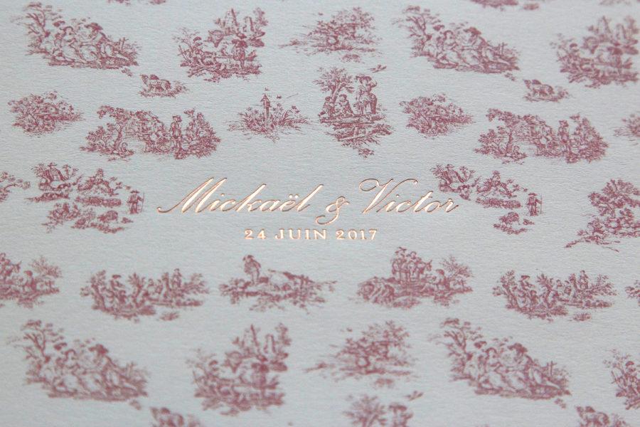 Intaglio imprimerie faire-part de mariage toile de jouy avec dorure à chaud or rose