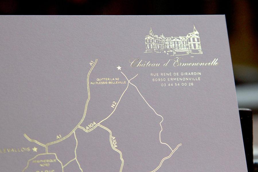Illustration en gravure or d'un plan pour de rendre au Château d'Ermenonville par l'imprimerie Intaglio
