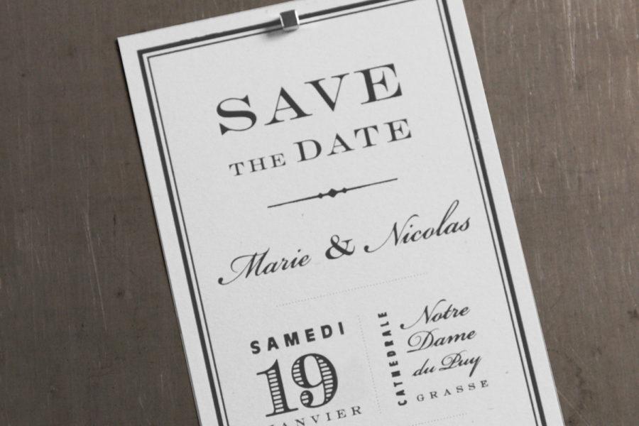 Faire-part de mariage et Save the Date imprimé par Intaglio