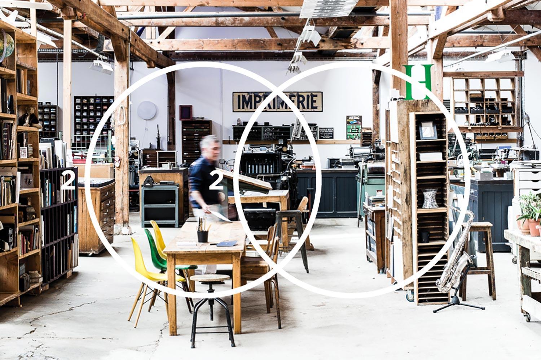 Cette photo représente l'imprimerie Intaglio avec le design RENCONTRE - SLIDE
