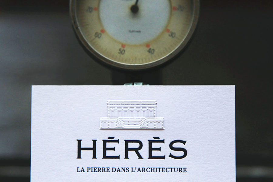 carte de visite gauffrée Hérès
