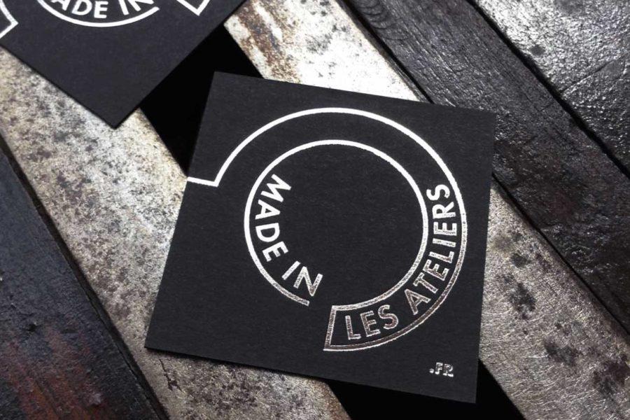 Carte de visite carte noire épaisse imprimée en gravure acier par Imprimerie intaglio pour Made In les ateliers