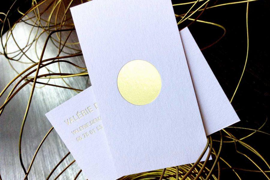 Carte de visite blanche gravure Or Recto Verso pour Valérie par imprimerie Intaglio