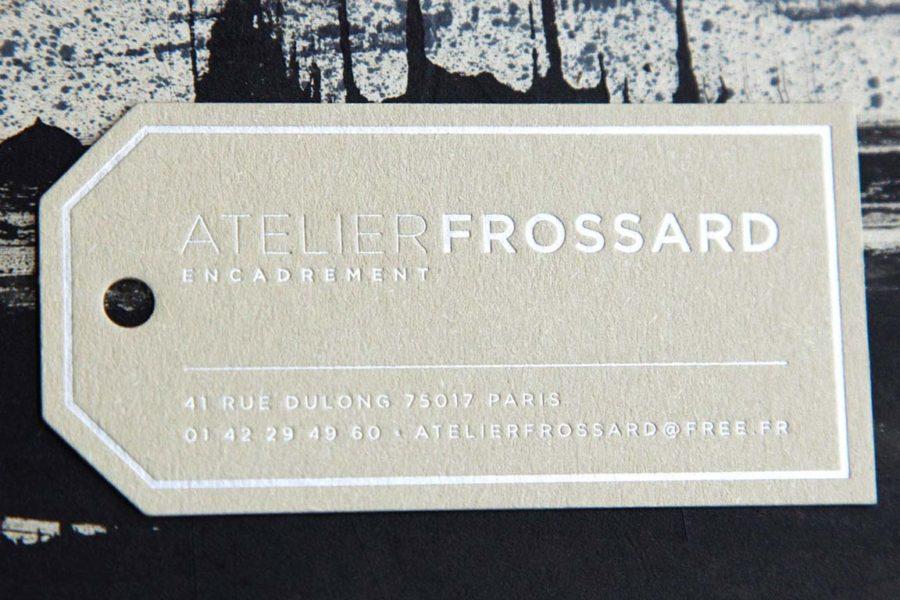 Carte de visite letterpress Intaglio imprimerie gravure argent carte couleur camel Jacques Frossard encadrement paris