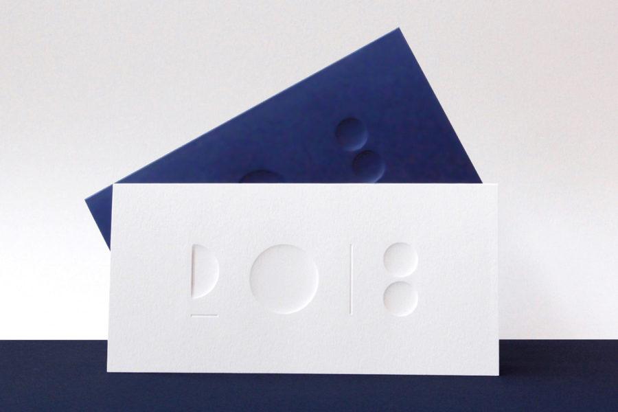 Carte de vœux 2018 Céramique Blanc Bleu