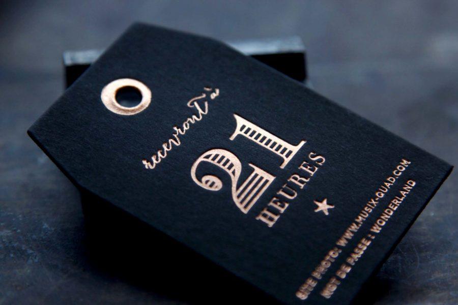 Intaglio imprimerie invitation rallye découpe dorure or rose carte épaisse noire