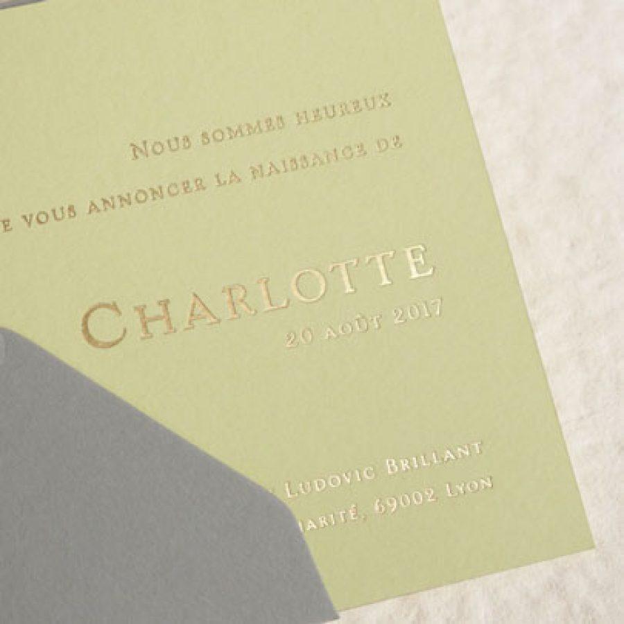 Faire-part naissance Collection Tribord en gravure or sur une carte couleur citron par Intaglio Paris