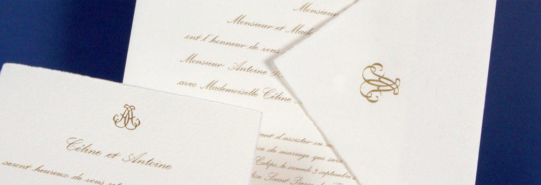 Faire-Part de Mariage traditionnel imprimé en gravure or sur papier Vélin d'Arches par Imprimerie Intaglio Paris