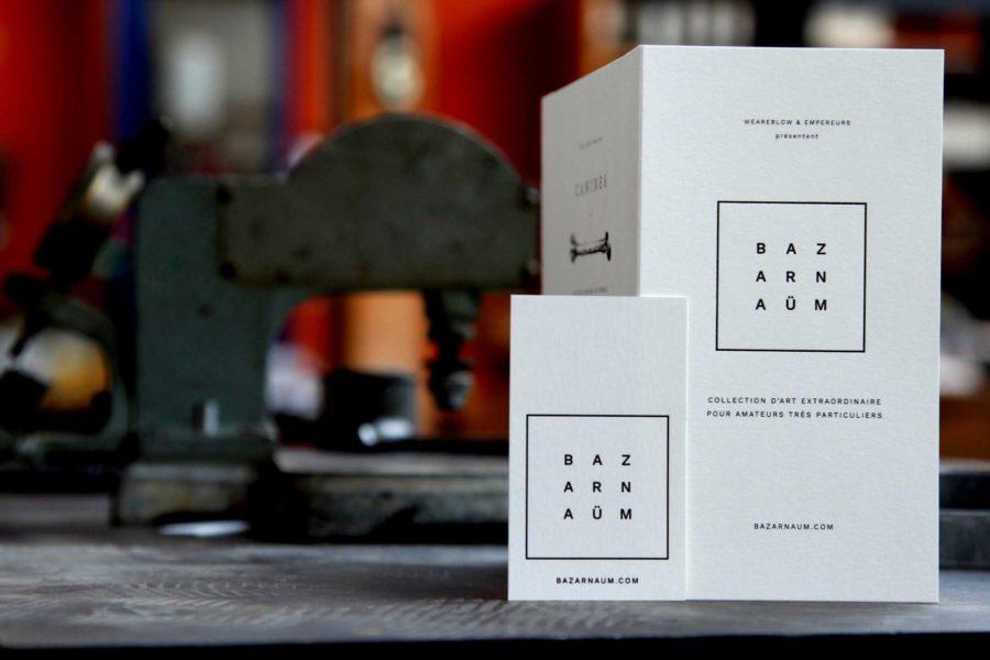 Intaglio imprimerie Invitation exposition imprimée dorure noire carte pur coton blanc naturel